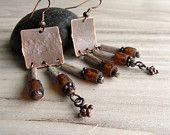 Unearthed Copper Earrings, Rustic, Bohemian, Beaded Fringe Earrings