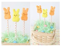 Diy Easter Bunny Peep Pops. Super fun and easy to make