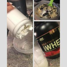 I have a HUGE sweet tooth. If I could eat ice cream all day, I would. Since I'm always looking for something sweet after dinner, I started making protein ice cream.  Mix 1 scoop of Gold Standard 100% Whey vanilla ice cream, a handful of ice, 1 cup unsweetened vanilla cashew almond milk, 2 packets stevia and 1 tsp baking powder in  blender. Despite the racket, keep going until all of the ice is crushed and you're left with a thick, creamy consistency that can be eaten with a spoon. I like to…
