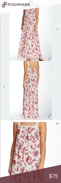 Love stitch Floral Crochet Maxi Dress Gorgeous maxi dress with crochet straps and along the top and in the middle gives this dress a gorgeous summer dressy look Love Stitch Dresses Maxi