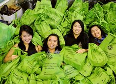 Killarney secondary Grade 12 students Jaiun Lee (l), Aliana Carlos, Samantha Giang and Serena Yang put together packages to help the needy in the Downtown Eastside. Secondary School, A Decade, 10 Years, Vancouver, Students, Celebrities, Upper Elementary, Celebs, Middle School