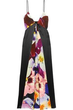 CHRISTOPHER KANE Floral-print silk crepe de chine midi dress. #christopherkane #cloth #dresses