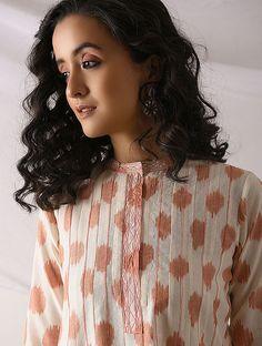 Buy PUTTAPAKA - Ivory-Orange Ikat Cotton Kurta with Top stitch Online at Jaypore.com Shopping Coupons, Kurta Designs, Kurtis, Body Measurements, Ikat, Im Not Perfect, Ethnic, Ivory, Stitch