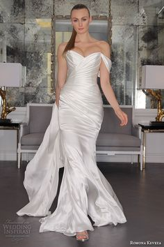 romona keveza fall 2016 luxe bridal strapless sweetheart neckline satin wrap over ruched mermaid wedding dress rk6458 Bridal Fashion Week, Satin Dresses, Romona Keveza Wedding Dresses, Fit And Flare Wedding Dress, Wedding Gown Gallery, Fall Wedding Dresses, Wedding Gowns, Fall 2016, Spring 2016