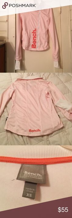 Bench jacket ‼️SALE‼️ Super cool ! Amazing fit ! U.K. Athletic line . Has zippered pockets and thumb holes . Color is peach and white pattern . Hip length . The cut is very flattering goes in at waist . Perfect condition !! Only wore once !! Bench Jackets & Coats
