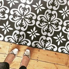 The new Large Fes Floor Stencil. Stencil Fabric, Stencil Patterns, Stencil Painting, Stencils, Painting Walls, Painted Floorboards, Painted Floors, Stenciled Floor, Floor Stencil