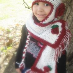 Crochet baby girl christmas hat and scarf