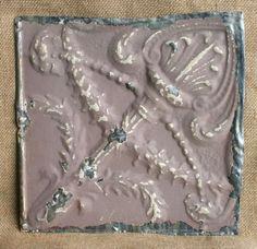 "12"" Antique Tin Ceiling Tile -- Brown Colored Paint -- Torch Design -- A3"