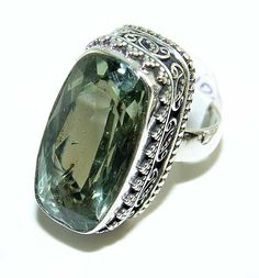Vintage Green Amethyst. 925 Sterling Silver Ring 7 Photo, Detailed ...
