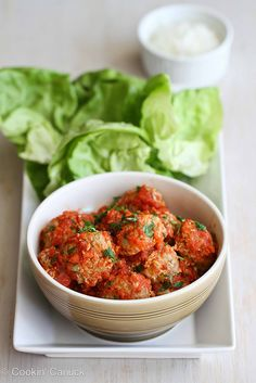 Baked Turkey, Quinoa & Zucchini Meatballs Recipe in Lettuce Wraps by Cookin' Canuck by CookinCanuck - made these for dinner tonight; very light and healthy. I didn't try them with the lettuce wraps, but I think they would be perfect together. Meatball Recipes, Turkey Recipes, New Recipes, Dinner Recipes, Cooking Recipes, Favorite Recipes, Healthy Recipes, Cooking Tips, Cooking Games