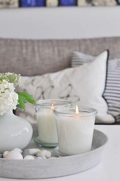 Tabletop decor. #white #candles #grey #vase #decor #livingroom #design