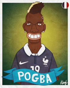 Fifa World Cup 2014 teams caricatures - France team - Paul POGBA - http://keuj.net