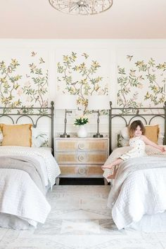 A nursery gets a cottagecore style toddler girl room makeover using metal vintage replica twin beds, pattern play, and chinoiserie wallpaper. Little Girl Bedrooms, Girls Bedroom, Girl Rooms, Trundle Mattress, Wooden Bed Frames, One Bed, Girl House, Affordable Home Decor, White Bedding