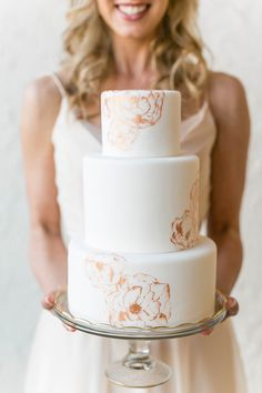 White and Rose Gold Wedding Cake | Bridesmaid Dresses from Brideside | Styling by Aisle Society | Photography by Emilia Jane | http://heyweddinglady.com/chic-mix-match-bridesmaid-dresses-brideside/