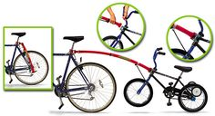 The Trail-Gator Bicycle Tow Bar converts an ordinary child's bike into a safe, towable trailer bike, whenever desired.