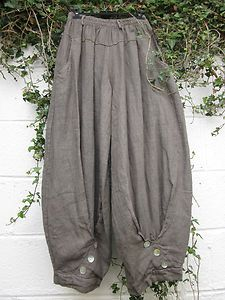 "Sarah Santos Linen Harem Balloon Trousers Taupe 24"" 38"" s Lagenlook Ethnic   eBay"