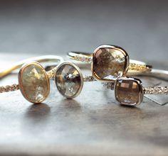Natural rose cut diamond rings