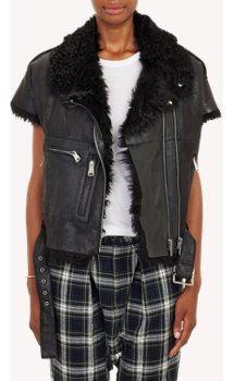 R13 Leather & Shearling Samurai Moto Vest