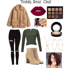 Teddy Bear Coat Contest by babygirl565001 on Polyvore featuring polyvore, fashion, style, Miss Selfridge, Topshop, Yves Saint Laurent, Kate Spade, River Island, Morphe and MAC Cosmetics