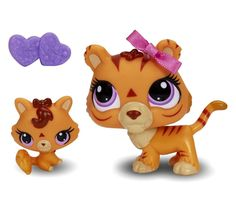 littlest pet shop  TIGER  orange  MOMMY  3593  & BABY  3594  lps petshop  NEW