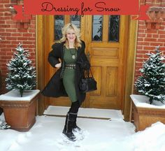 Dressing for Snow.@karinadresses  Presented by Still Blonde after all these YEARS Modeled by the Chief Blonde, Shelley Zurek (52) Fashion for Women over 45 and Fashion for Women over 50