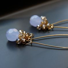 Lavender Champagne  Extra Long Crystal Earrings by SavannahRenee, $32.00