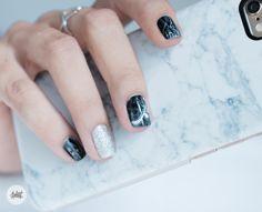 Black Marble nail art