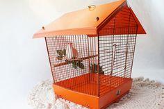 Bird Cage Orange Vintage with door and slide by flattirevintage