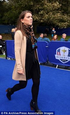 Annie Verret walks out at Gleneagles during Ryder Cup opening ceremony last year...
