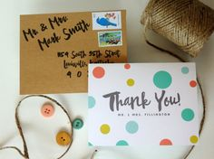 Polka Dot Wedding Thank You Cards Whimsical by HeartwoodPaperie