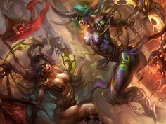 World of Warcraft,Игры,Demon Hunter,blood elf,Night elf,game art,mad-jill,draenei