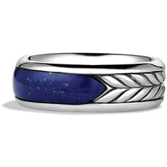David Yurman Exotic Stone Band Ring with Lapis Lazuli ($425) ❤ liked on Polyvore featuring men's fashion, men's jewelry, men's rings, rings, jewelry, david yurman mens rings and mens band rings