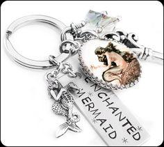 Silver Mermaid Keychain, Cute Keychain, Designer Key Ring, Split Ring, Stainless Steel Keyring