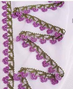 Look Bak Bitmez 107 Different Crochet Hijab Towel Edge Needlework Model Crochet Boarders, Crochet Edging Patterns, Crochet Lace Edging, Freeform Crochet, Filet Crochet, Baby Knitting Patterns, Crochet Designs, Crochet Towel, Embroidered Towels
