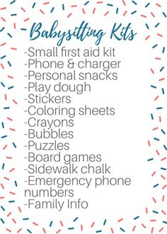 Tips and tricks for babysitters Baby Sitting Checklist Babysitting Classes, Babysitting Bag, Babysitting Flyers, Babysitting Activities, Activities For Girls, Cool Babysitting Ideas, Nanny Activities, Babysitter Checklist, Babysitter Notes