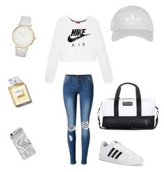"""""""White Adidas"""" by tigerstripes ❤ liked on Polyvore featuring NIKE, WithChic, Topshop, adidas, Recover and Laura Ashley"""