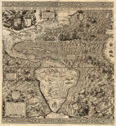 Rare old map of America from 1562 Cotton canvas Pull down by Zmaps