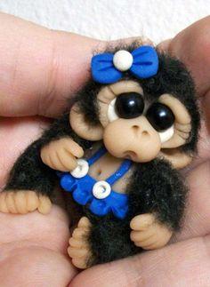 """OOAK Cutest Monkey Orangutan Chimp with dress Dollhouse Miniature Reborn monkey jointed 3"""" tall. $14.99, via Etsy."""