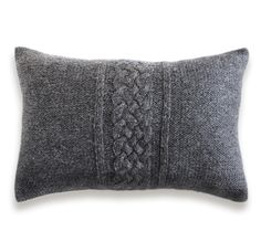 Cable Knit Pillow Cover In Charcoal Gray 12x18 inch Textured Wool Lumbar Cushion by DelindaBoutique on Etsy