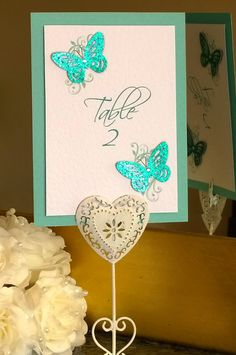 Butterfly & Floral Mounted Table Number
