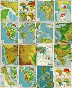vintage 1939 maps and charts - atlas pages - 9 x 11 - set of 10 for $14.00
