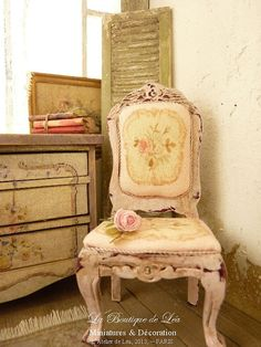 dollhouse scale Conservatory | ... , Louis XV - Shabby pink - Furniture for a dollhouse in 1:12th scale