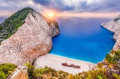 Europe | Greece, Zakinthos | Navagio Beach with Shipwreck bay