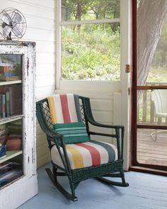 Amazing wicker rocker / Camp Wandawega in Wisconsin via Martha Stewart Living Vintage Cabin, Vintage Room, Vintage Green, Vintage Decor, Love Bookshelf, Pendelton Blankets, Pendleton Wool, Wicker Rocker, Hudson Bay Blanket