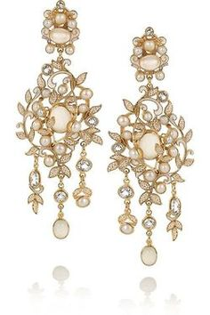 Percossi Papi | Gold-plated, topaz, moonstone and pearl earrings