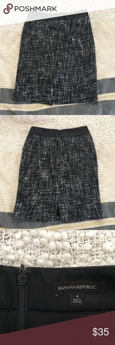 Banana Republic Faux Leather Coated Tweed Skirt This is a super cool Banana Republic Coates tweed skirt in a black, grey, and white patterned coated tweed fabric, with a faux leather waist band. Perfect for the office or going out at night.  Size: 4  Gently worn, no pulls or pilling. Only a few very minor smudges on the waist band, pics 5-7 show on the outside and one on the inside. Very small and unnoticeable. Banana Republic Skirts Midi