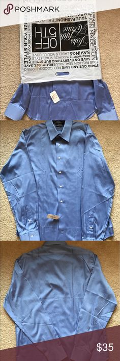 Brand new men's dress shirt. Saks off 5th brand new men's dress shirt. 100% cotton. 16 1/2- 36/37 slim fit. Black saks fifth avenue Shirts Dress Shirts