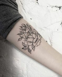 Biggest Tatto Gallery - Geometric peony tattoo by dasha_sumtattoo. These blackwork tattoos are the most exquisite creations by some of the most renowned tattoo artists out there for your pleasure. - Find Your Perfect Tatto Now Rose Tattoos, New Tattoos, Body Art Tattoos, Small Tattoos, Sleeve Tattoos, Tatoos, Tattoo Arm, Lgbt Tattoos, Forearm Tattoos