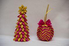 Ручная работа Новогодний набор из елочки и шара из лент