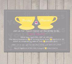 Yellow Tea Party Bridal Shower Invitation, Personalized Bridal Shower Invitation